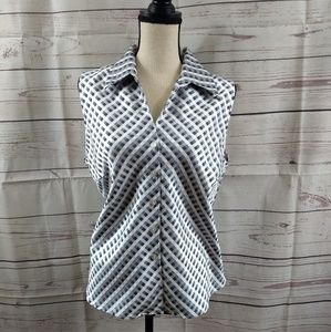 Fashion Bug Sleeveless Button Check Top